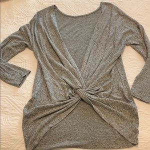 Grey light weight twist back sweater